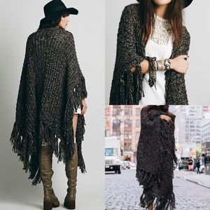 Free People Knitted Brown Black Ruana Wrap Shawl